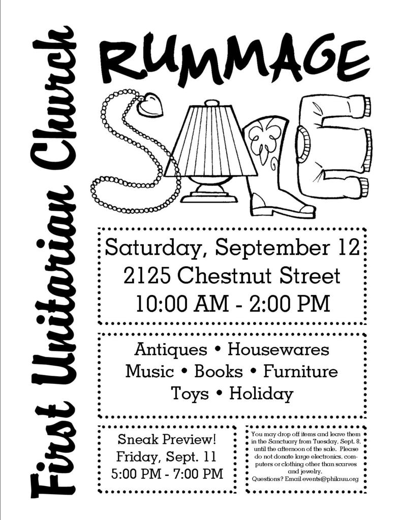 Annual Rummage Sale to Benefit the Church! - First Unitarian