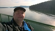 Me taking the ferry to San Juan Island