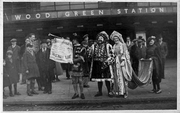 Promoting a film at Wood Green Tube, 1932