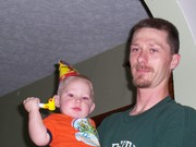 Chantz and daddy at the birthday party