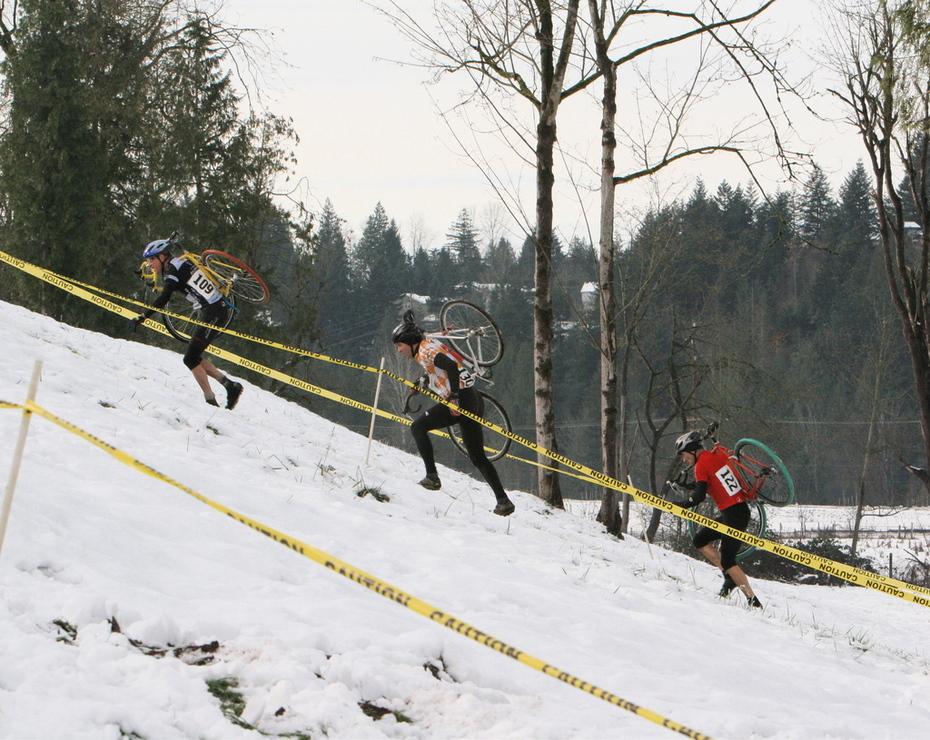 Up hill in the snow with a bike?