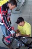 Mounting the helmet cambefore the race @ Harbin Park, 2008