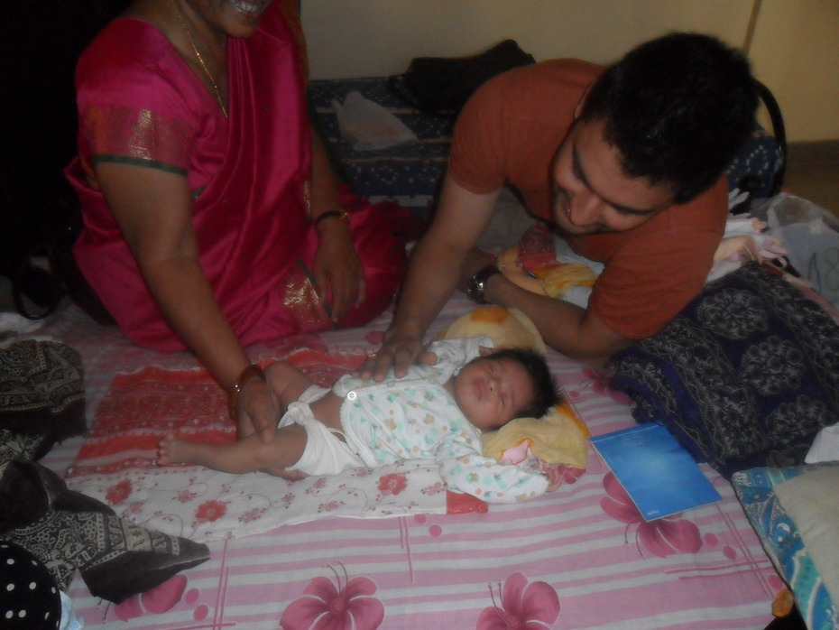 Amit Upadhyay &His new born daughter