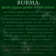 Burma World's Highest Number of Child Soldiers