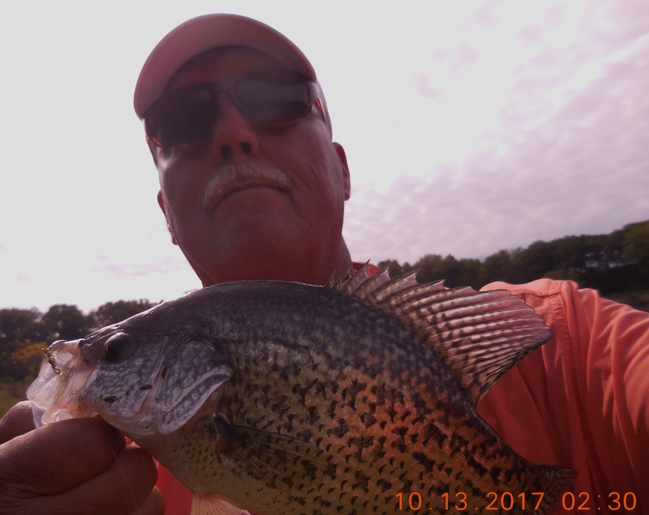 10/6/17 A nice crappie on one of my baits. Red and Yellow silent