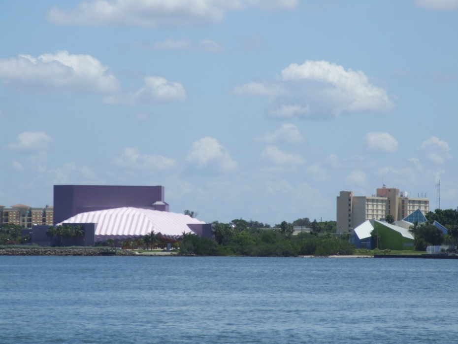 """""""The Purple Cow"""" is really the Van Wezel Performing Arts Hall. The smaller blue building is G-Wiz, The Hands-On Science Museum"""