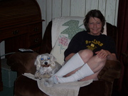 Me Relaxing with our doggie Yoda