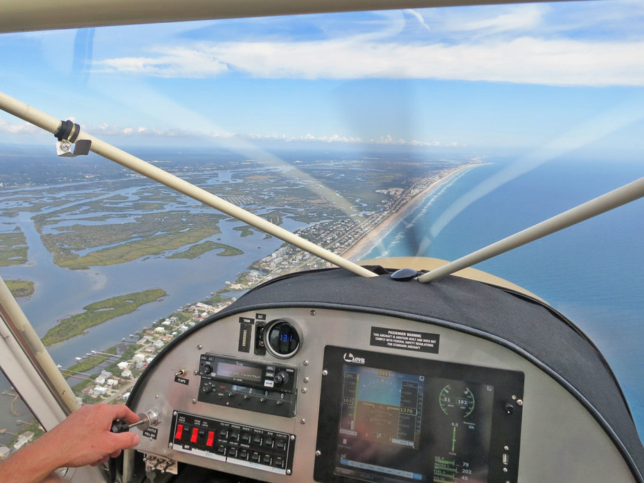 STOL flying over New Smyrna Beach, Florida
