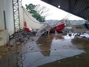 The hangar wall, down on PUEER due strong wind
