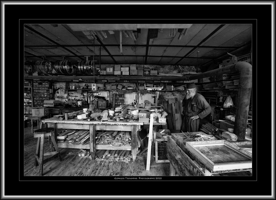 Ο χώρος του εργοχείρου στην Καλύβη του Αγίου Γεωργίου στην Κερασιά Αγίου Όρους