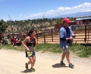 Proud papa encouraging me the last few meters to the finish at Jemez 50K