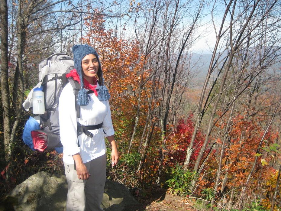 Jigsha with her backpack on Snake Den Ridge Trail