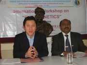Dr. Anwar  Shaikh with Joshua Teo of Emergenitics International at the Press conference