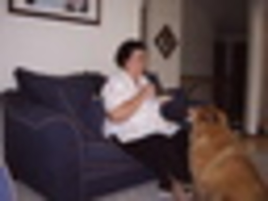IMG00005-Wife,Maggie sharing lunch with grand-dog,Dolly