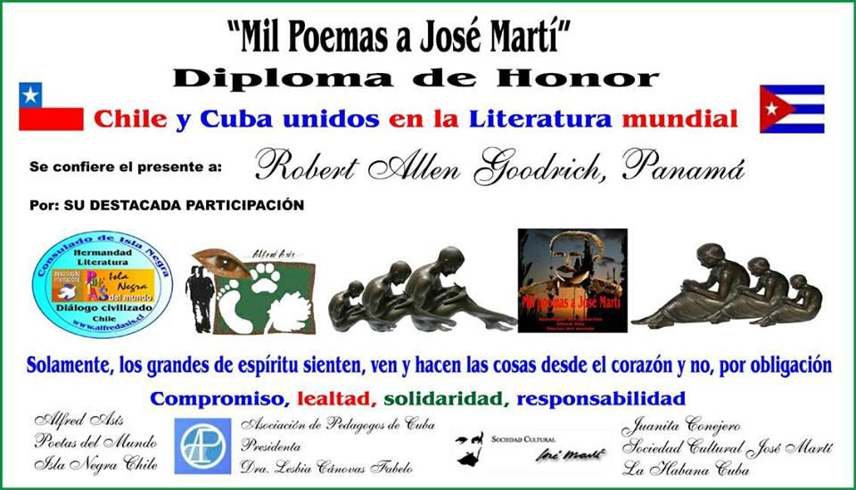 diploma mil poemas a jose marti