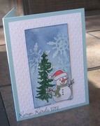 Snowman with Glittered Tree