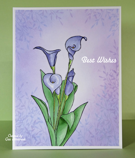 Lilies with leafy background