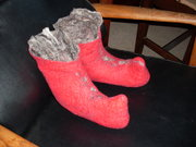 red booties with brown interior