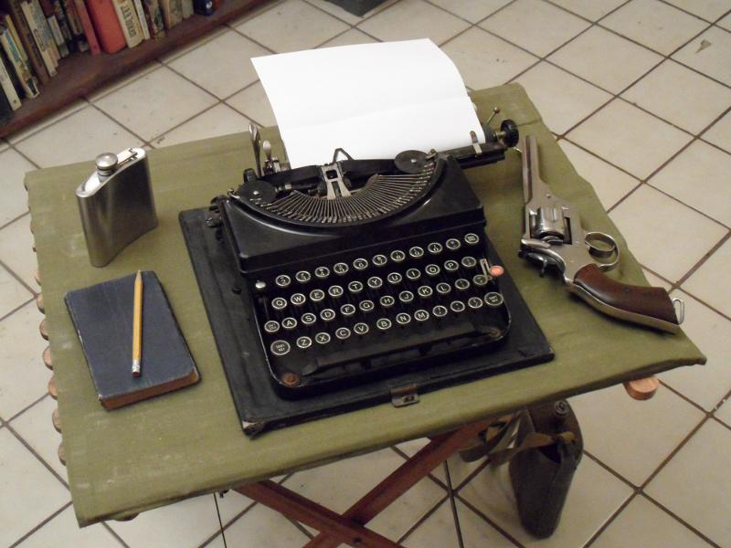 Camp Table and Typewriter