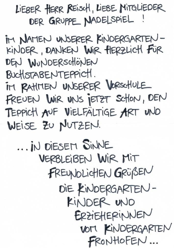 Brief vom Kindergarten