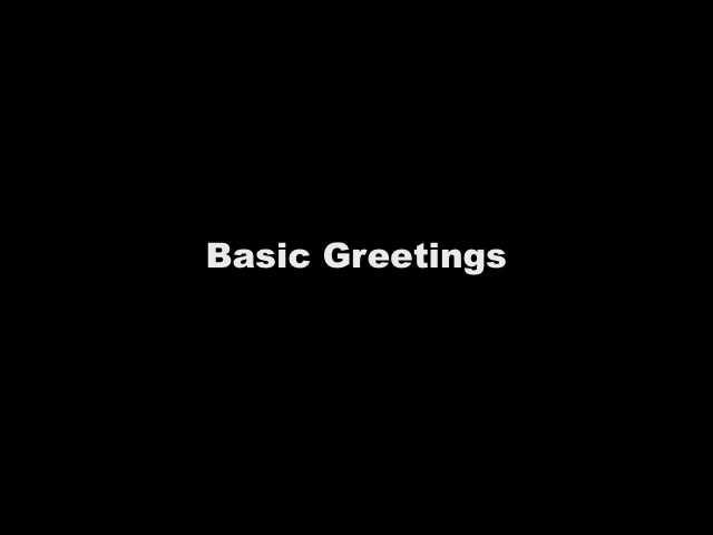Vidcast 5 - Basic Greetings