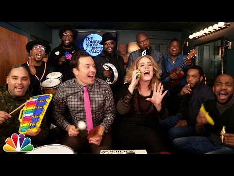 """Watch Adele, Jimmy Fallon & The Roots Perform """"Hello"""" With Classroom Instruments"""