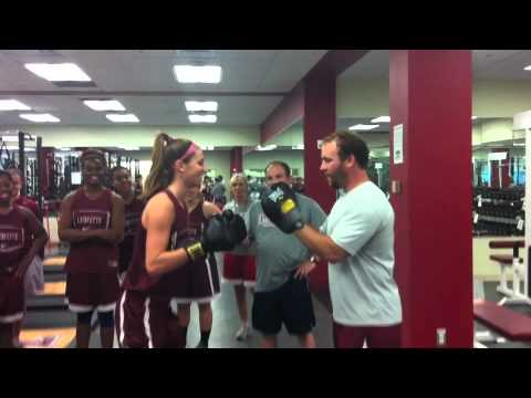 Lafayette Women Basketball in the Weight Room