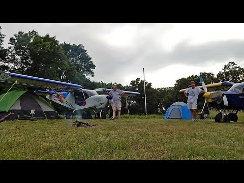 Roger and Dennis go camping with their planes