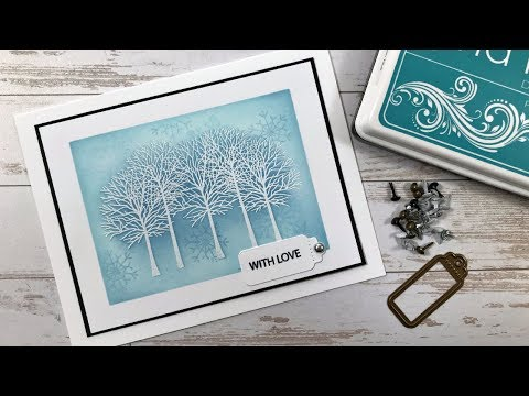 Merry & Bright - Embossed Trees Holiday Card