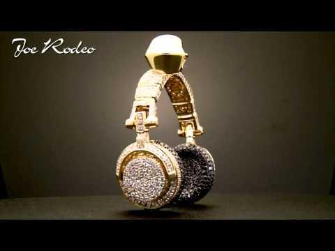 Joe Rodeo Custom Made Gold Headphones Full Diamonds .avi