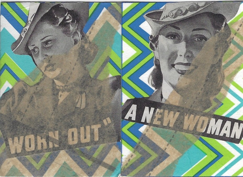 """1027 a&b """"worn out & a new woman"""" ATC's 1028 Love ATC by tonipoet"""