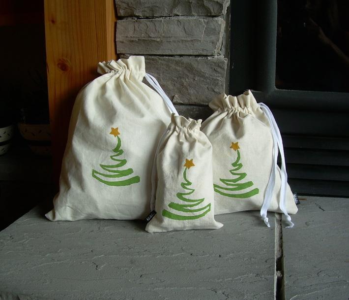 Reusable, Organic, Christmas Gift Bags