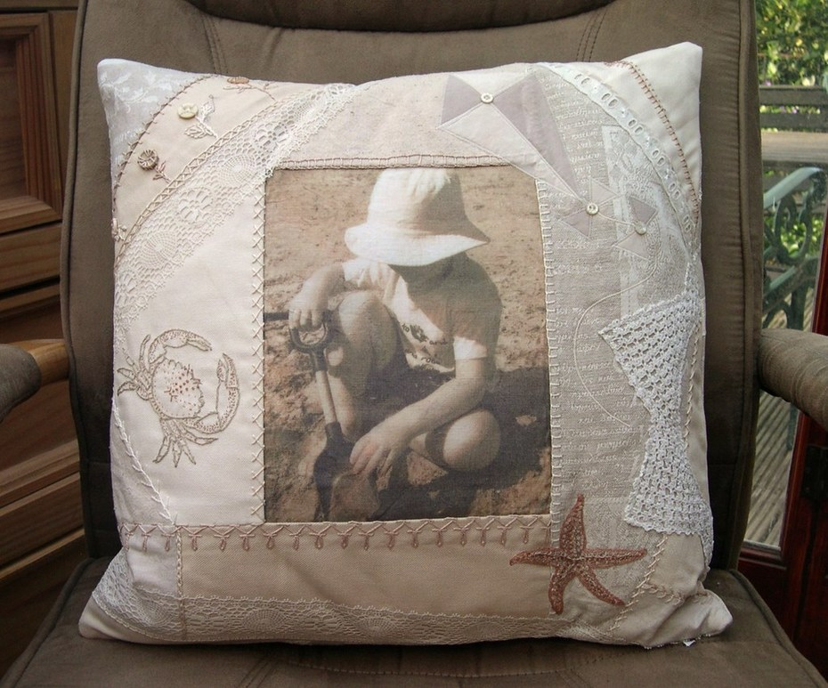 """""""Embroidered Memories"""" cushion"""