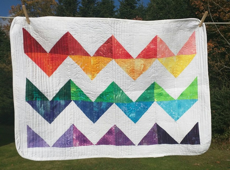 Rainbow Chevrons Mini Quilt -Matchstick Quilting.