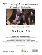 """Stanley Alexandrowicz Solo Guitar Recital — Sunday 22 October, 2017 @ 6:00 pm @ """"Salon 33"""" in Princeton, New Jersey!"""