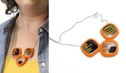 Fused Glass and Crocheted Cotton Necklace