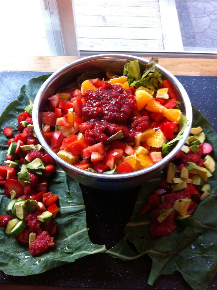 dinner salad with strawberry collard wraps