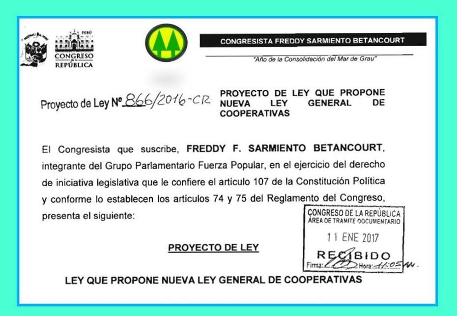 PROYECTA NUEVA LEY DE COOPERATIVAS PERU 2017