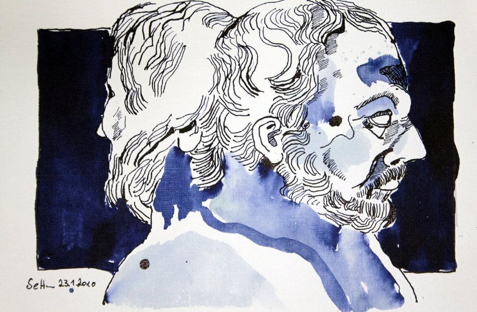 Januskopf - 24 x 32  cm - Tusche auf Bütten (c) Zeichnung von Susanne Haun
