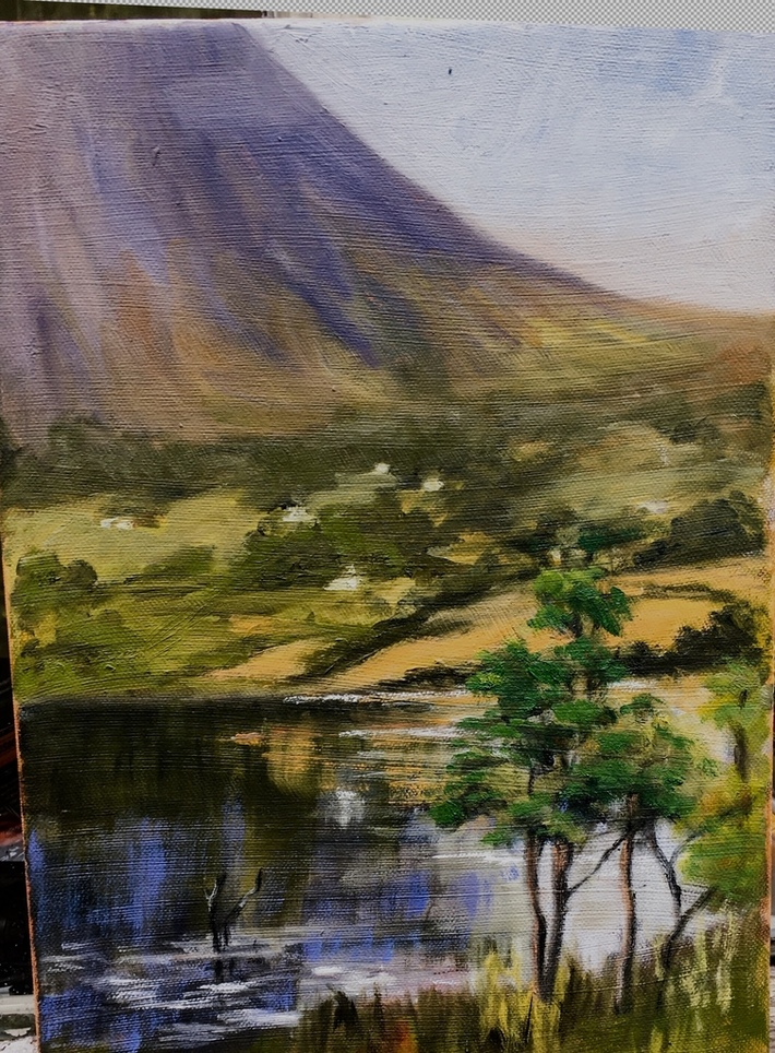 Errigal from Guinness Estate, Poison Glen 14x10'' on canvas