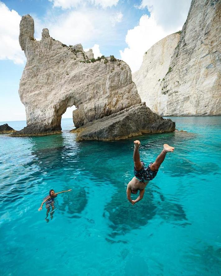 Cliff diving inZakinthos Greece