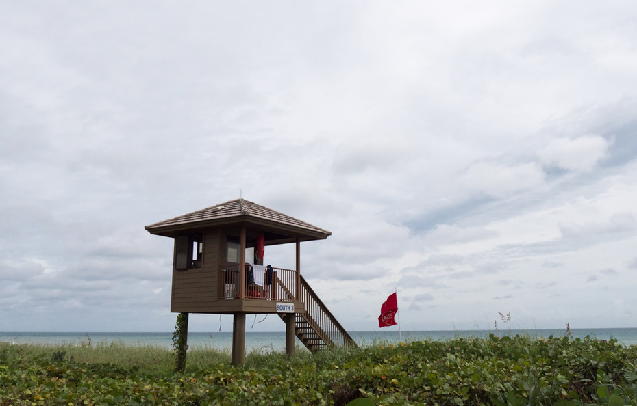 Double red flag at the beach in Delray on Friday, Oct. 7