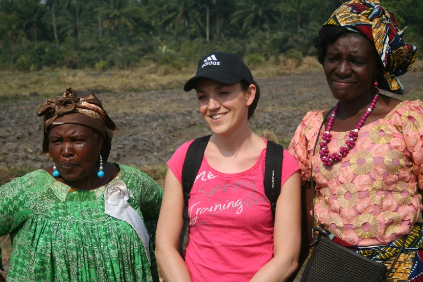 Rachel Marchal (one of our funders) with the farmers at the farm
