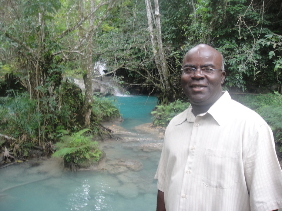 Noel at the Uniquely Beautiful but Little Known Blue Hole Falls Attraction