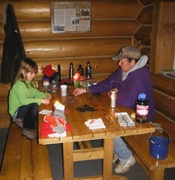 Dominoes by candlelight in NWR cabin