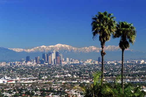 Panoramic view of the east end of the San Gabriel Mountains