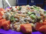 Papaya, beans, greens