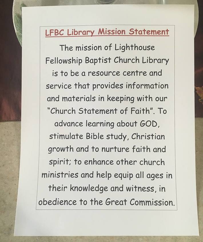 Church Library Mission Statement