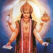 Dhanvantari segnet und gibt das Wissen von Gesundheit und Weisheit