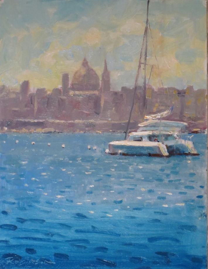 Cat moored off Valletta